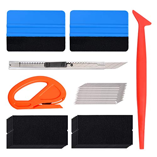 hupos Car Vinyl Wrap Window Tint Tool Kit, 7 in 1 Vehicle Tint Film Installation Tool Set with Felt Squeegees, Mini Squeegee, Utility Knife, Blades, Film Cutter, Fabric Felts for Car Wrapping
