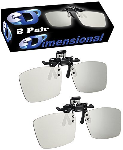 2 pairs - Adult CLIP-ON Passive 3D Glasses Genuine eDimensional Sealed Circular Polarized 3D Glasses for Passive 3D TV