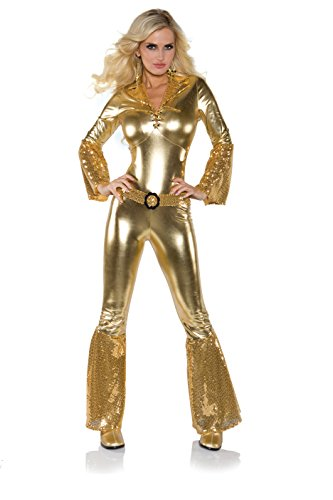 Underwraps Costumes Women's Gold Metallic Jumpsuit Costume - Disco Diva, Gold, X-Small