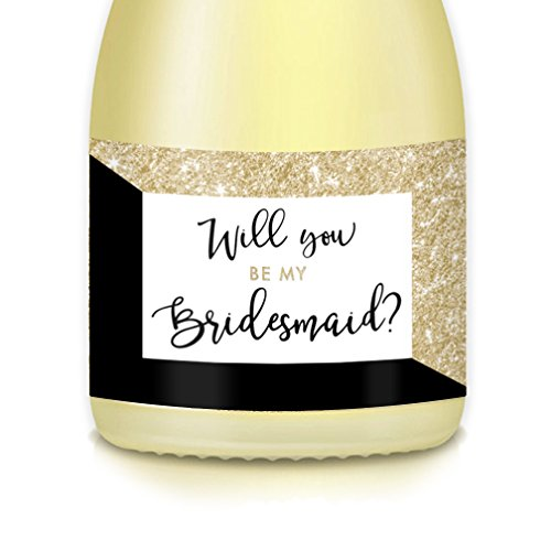 Bride Wedding Party Proposal, Set of 10 Stickers for MINI CHAMPAGNE BOTTLES Ask Bridesmaid, Maid Matron of Honor, Label Gift Bags, Boxes, Favors, Engagement Bachelorette Hen Party 3.5