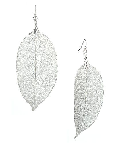 - Women's Bohemian Nature Inspired Metallized Real Leaf Pierced Dangle Earrings, Silver-Tone