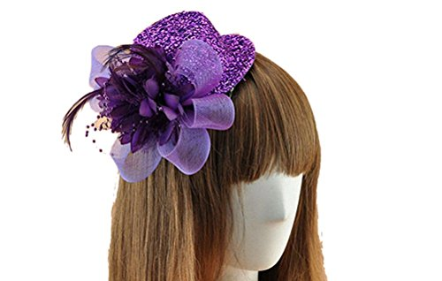 [Fascinator Hair Clip Head Hoop Sequin Paillette Glitter Bling Pillbox Hat (A Purple)] (Film And Tv Costume Design)