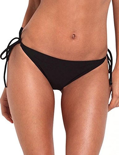 RELLECIGA Women's Cheeky Brazilian Cut Butt Bikini Swim Bottom S Black