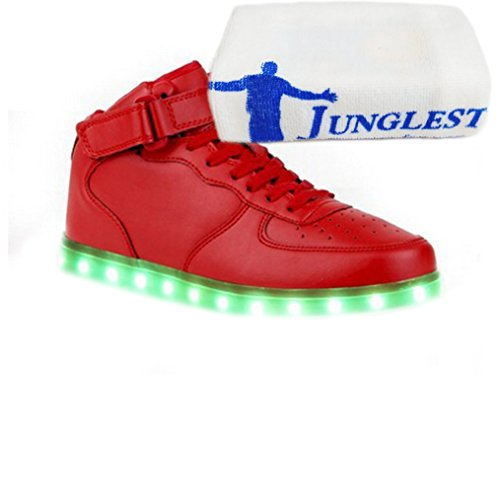 [Presente:pequeña toalla]JUNGLEST® 7 Colores USB Carga LED Luz Glow Luminosos Light Up Flashing Sneakers Zapatos Deportivos de Alto-Top Rojo