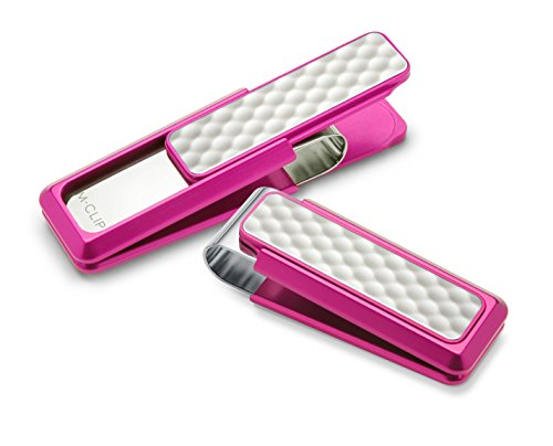M-Clip Pink Anodized White Golf Ball Money Clip