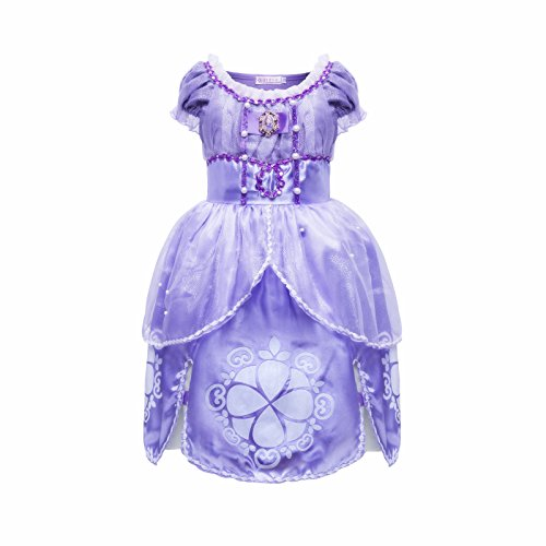[MISG Sofia Girls' Belle Princess Dress Halloween Party Fancy Costume(110)] (Sofia The First Dress Up Costume)