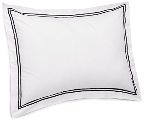 Pinzon 400-Thread-Count Egyptian Cotton Sateen Hotel Stitch Sham - King, Black (Sateen Cotton Shams)