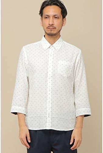 (ikka) 7分リネン混小紋プリントシャツ