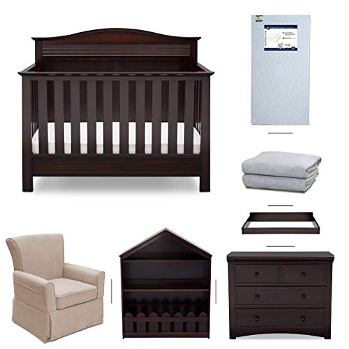 (Serta Barrett 7-Piece Nursery Furniture Set - Convertible Crib, Dresser, Changing Top, Bookcase, Crib Mattress, Glider, Crib Sheets - Dark Chocolate)