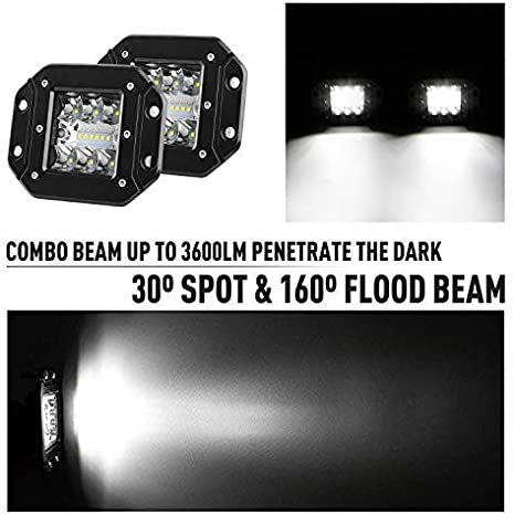 Flush Mount LED Pods with Wiring Harness 5 Inch LED Light Bar 36W 12//24V LED Work Light Flush LED Light Spot Flood Combo Beam Off Road Driving Fog Lamp for UTV ATV Truck Bumper Pickup Boat