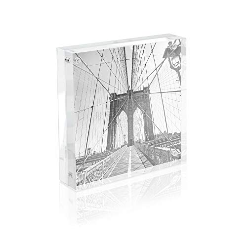 Isaac Jacobs Super Thick Acrylic Magnetic Block Frame, 5x5 Inches