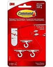 Command Ceiling Hook, White, 3 Hooks 4 Strips, Plain