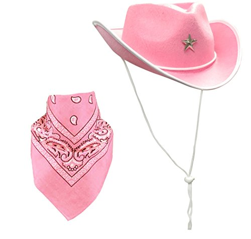 Cowboy Cowgirl Hat (Quality Child Cowboy Costume Hat WithFREE Cotton Paisley Bandanna - Funny Party Hats TM (Pink Star Cowgirl Hat with Pink Paisley Bandana))