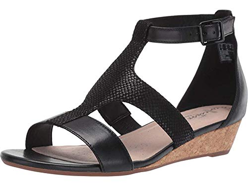 Clarks Women's Abigail Lily Wedge Sandal, black leather/suede, 8.5 M US (Sandal Low Wedges Shoes For Women)