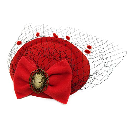 Ahugehome Fascinator Hair Clip Headband Pillbox Hat Victorian Lady Bowknot mesh Tea Party (V Red)