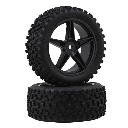 Review BQLZR Black Front Rear Pentagram Plastic Wheel Rims + High Grip Rubber Tires Tyres for RC 1:10 Off-Road Car Buggy Pack of 4