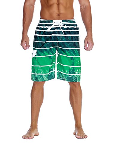 Nonwe Men's Beachwear Quick Dry Holiday Drawstring Striped Board Shorts Green Pattern 28