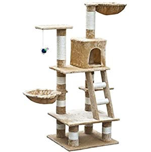 """cheap SKB Family Cat Tree 48"""" Beige Plush Kitty Toy Tower Play House Scratching Post"""