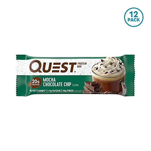 Quest Nutrition Mocha Chocolate Chip Protein Bar, High Protein, Low Carb, Gluten Free, Keto Friendly, 12 Count (Top 10 Best Protein Bars)