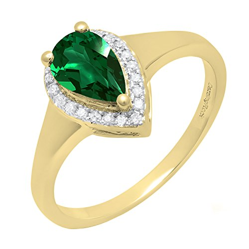 (Dazzlingrock Collection 10K 8X5 MM Pear Lab Created Emerald & Round Diamond Ladies Ring, Yellow Gold, Size 8)