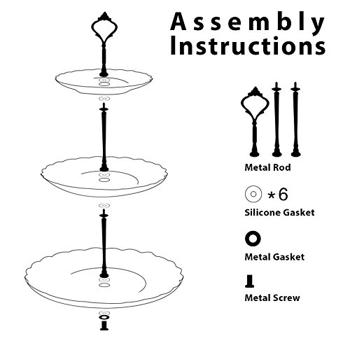 Pukka Home 3 Tier Ceramic Cake Stand British Royal Series Wedding Dessert Cupcake Stand for Tea Party Serving Platter (Pure White) by Pukka Home (Image #4)