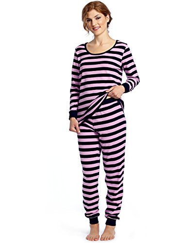 Leveret Women's Pajamas Fitted Striped 2 Piece Pjs Set Cotton Sleep Pants Sleepwear XSmall-XLarge