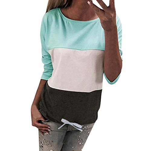 Price comparison product image Womens Summer Short Sleeve Round Neck T-Shirt Casual Blouse For Ladies Girls US 8-14 (Long Sleeve Green, US:4)