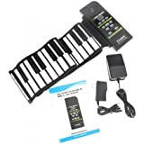 E-rainbow 88 Keys Professional Silicon rubber USB midi Flexible Roll up Electronic Piano Keyboard with louder speaker,for windows and mac os