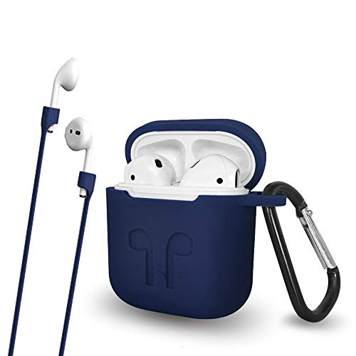 Talent Airpods Case with Keychain Anti-Lost Strap - Waterproof Silicone Cover Airpods Accessories for Apple Airpods 1, Airpods 2 (Navy Blue)
