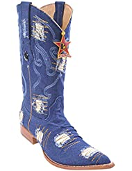 Mens 3X-Toe Genuine Leather Denim Skin Western Boots With Patch