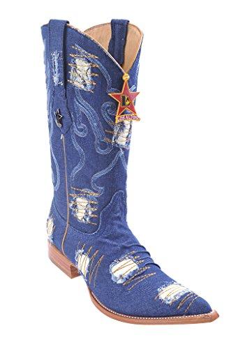 Heren 3x-teen Lederen Western Westernlaarzen Met Patch Blue Jeans