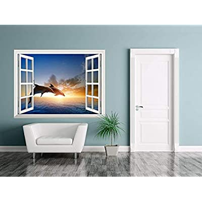 Removable Wall Sticker Wall Mural ( Two Dolphins)...