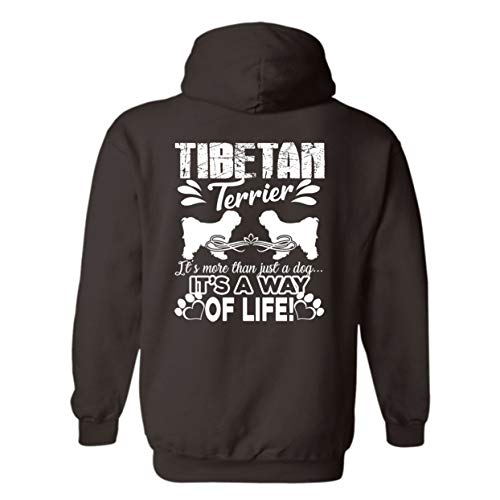 (Two Camel Tibetan Terrier It's A Way of Life Hoodie, Pullover Hoodie, Long Hoodie (L,Dark Chocolate))