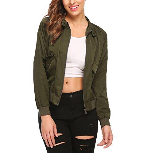 Elover Women's Casual Loose Raglan Sleeve Zipper Short Bomber Jacket Coats Flight Jacket Army Green L (Raglan Sleeve Jacket Bomber)