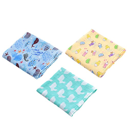 3Pcs Bamboo Cotton Blanket Baby Swaddle Wraps Cotton Baby Muslin Blankets Group A