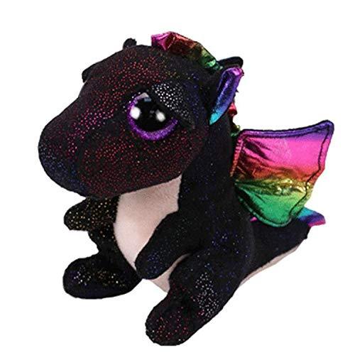 JEWH Ty Beanie Boos Turtle ,Dog, Cat, Dragon, Unicorn, Fox, Ghost, Wolf, Bear, Teddy - Plush Soft Big-Eyed Stuffed Animal Doll Toy ( Black Dragon)