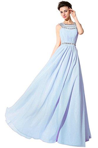 Belle House Light Blue Rhinestone Prom Dresses Long Sheer Neck Celebrity Gown