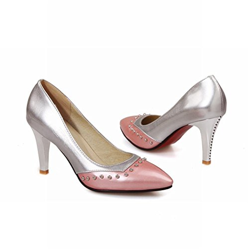 Tirahse Sweet Women's Studded Pointed Toe Sexy Patent Leather Assorted Colors high Stiletto Heel Pumps Shoes (8.5, Pink)
