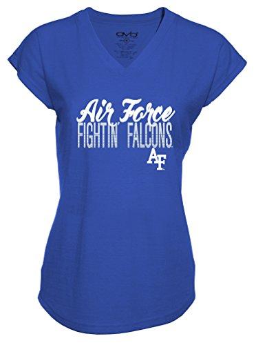 (Old Varsity Brand NCAA Air Force Falcons Ladies Tri-Blend V-Neck T-Shirt, Small, Royal Blue)