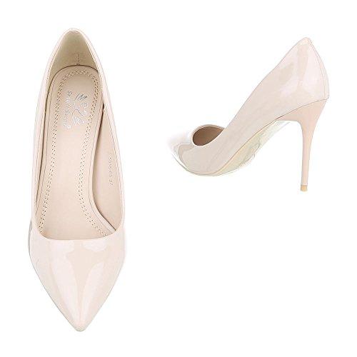 Ital-Design High Heel Damenschuhe Plateau Pfennig-/Stilettoabsatz High Heels Pumps Beige 5015-63