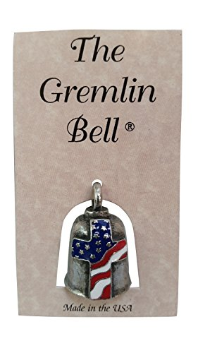Amulet Zipper Pull - The Gremlin Bell Cross USA Flag Pewter Good Luck Charm with Pouch and 2 Attachments and Story Card (Cross Flag)