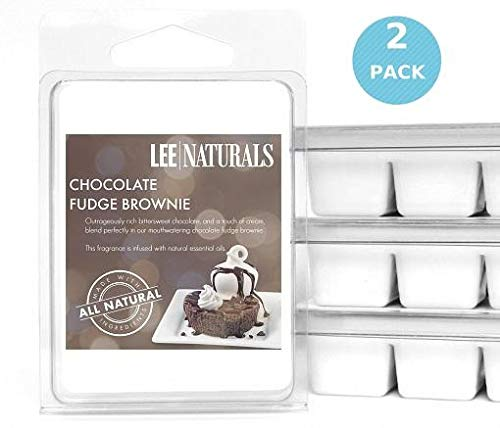 Lee Naturals Classic Collection - (2 Pack) CHOCOLATE FUDGE BROWNIE Premium All Natural 6-Piece Soy Wax Melts. Hand Poured Naturally Strong Scented Soy Wax Candle Cubes
