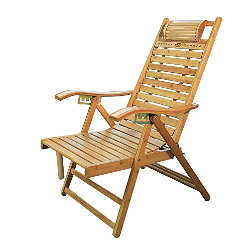 MEIDUO Rocking Lounger Bamboo Recliner Home Leisure Folding Lounger Chair Elderly Garden Sun Lounger Portable Deck Chair Multi-Position Adjustable, Blue Cushion Available (Color : Chair)