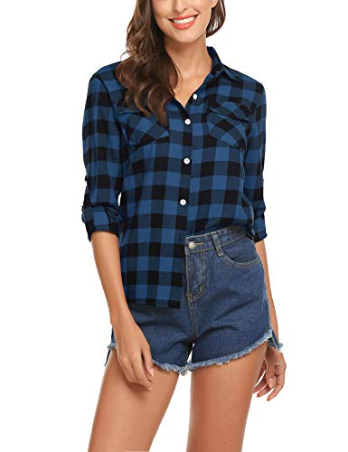 Long Sleeve Shirt for Women Flannel Plaid Fall Casual Loose Tie Button Up - Womens Flannel