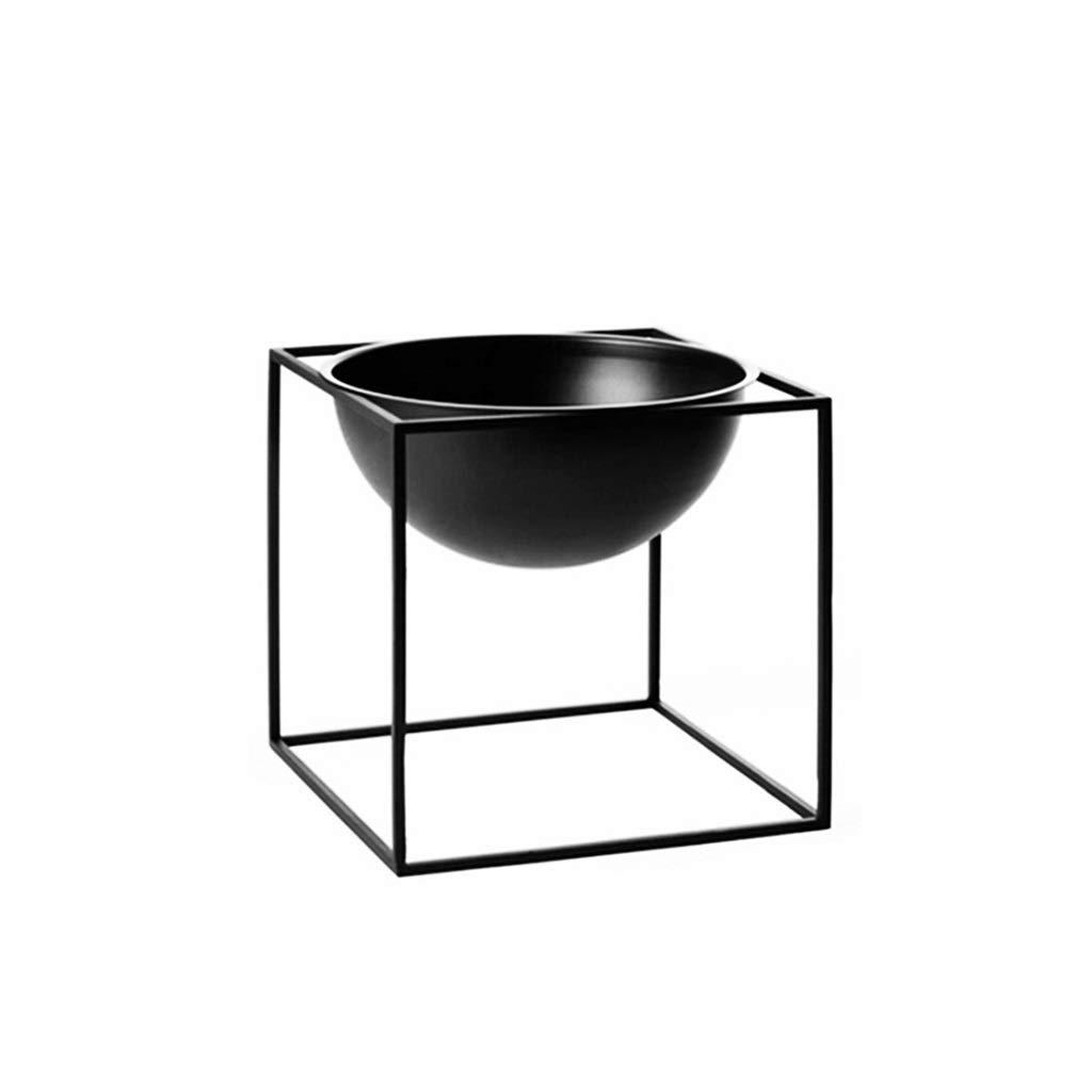 JSSFQK Supporto per Fiori in Metallo Piccolo Supporto per Piante Resistente all'Acqua E Resistente all'Usura Supporto per Fioriera Saldato A Mano Nero Stand di Fiori (Dimensioni   17×17cm)