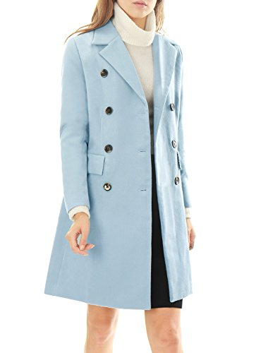 Allegra K Women Notched Lapel Double Breasted Wool Blended Long Coat Blue XL (Pink Coat)