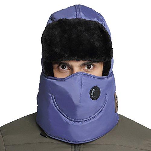 Hombres Winter Warm Bomber Hat Máscara A Prueba De Viento Winter Ear Flap Outdoor Sports Snow Máscara A Prueba De Viento Classic Denimblue