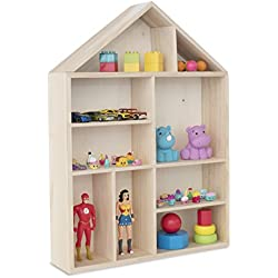 Wallniture House Shape Wooden Shadow Cubby Box Storage Knick Knack Shelf Wall Mount or Free Standing Arts Collectibles Curio Display Dollhouse Natural Unfinished Wood