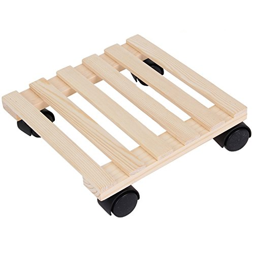 Tosnail Pine Wood Square Plant Dolly / Caddy Plant Stand with Roller, 10
