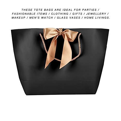 Bolsas de Papel Negras de 10pcs, Bolsas de Papel Simples, Bolsas de Papel de Regalo Decorativas, Bolsas de Papel de Regalo de cosméticos de Ropa, ...